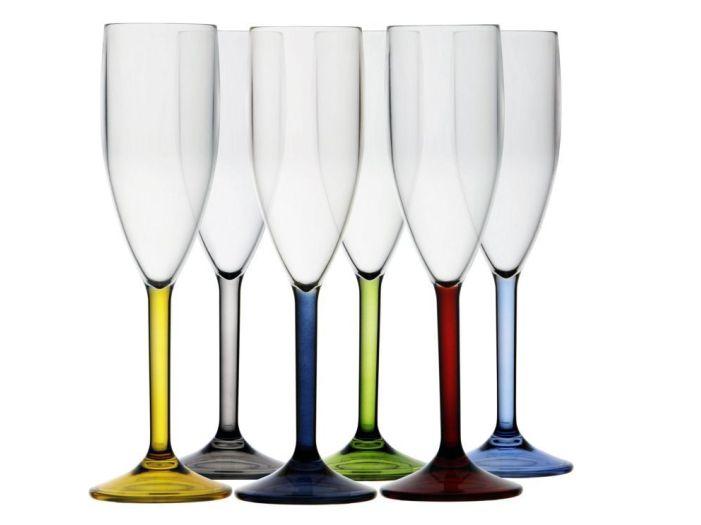 PARTY бокал для шампанского, цветное основание, набор 6 шт.