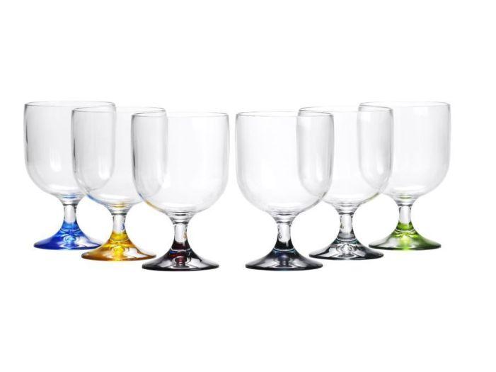 PARTY келихи для води / вина на ніжці, різнокольорові, набір 6 шт.