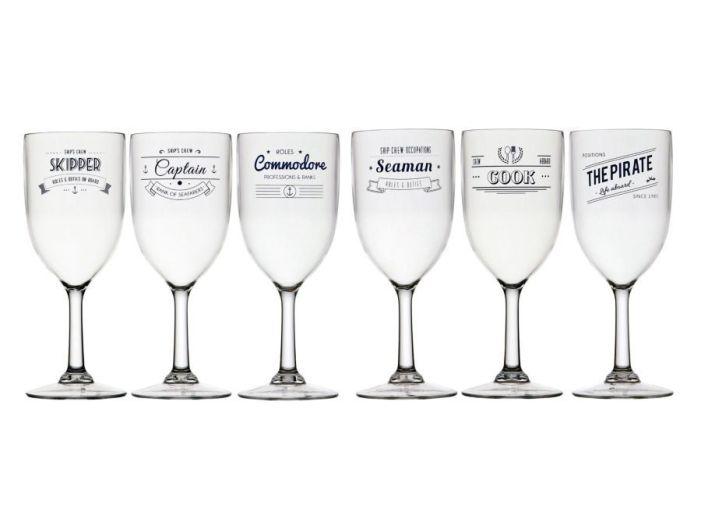 PARTY бокал для воды/вина, прозрачный с надписями, набор 6 шт