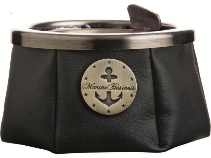 WINDPROOF Premium Пепельница черная с якорем , заменитель кожи