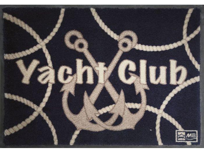 """WELCOME Коврик входной """"YACHT CLUB"""" с нескользящей основой, синий"""