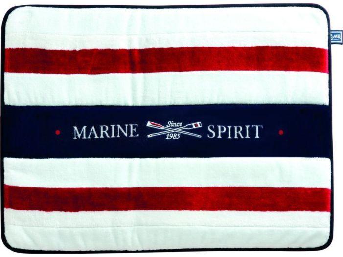 SPIRIT Душевой коврик с нескользящей основой, белый с красными полосами