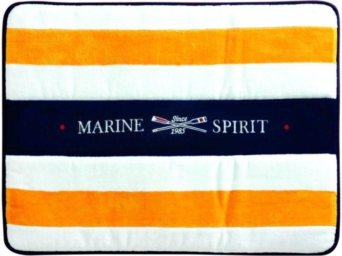 SPIRIT Душевой коврик с нескользящей основой, белый с желтыми полосами