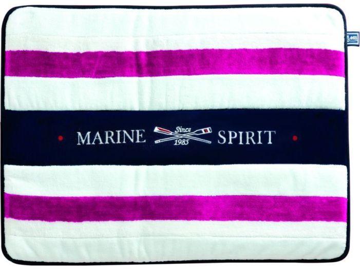 SPIRIT Душевой коврик с нескользящей основой, белый с фиолетовыми полосами