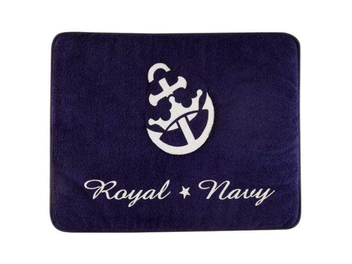 ROYAL Душевой коврик с нескользящей основой, синий с якорем