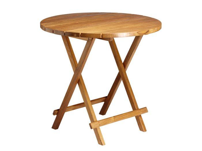 Складной стол из тикового дерева круглий