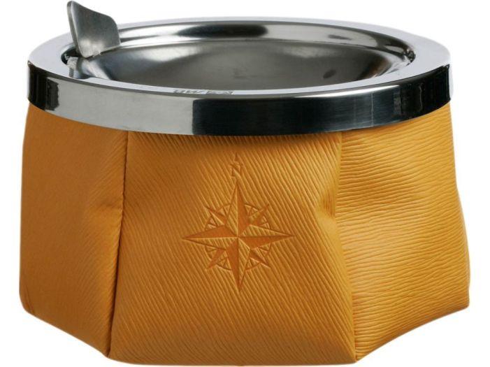 WINDPROOF Пепельница желтая, заменитель кожи (тяжелое основание)