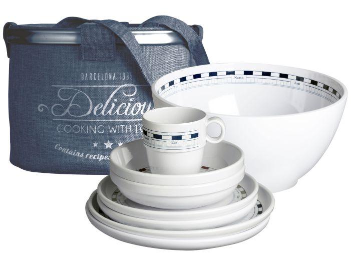 MISTRAL набор посуды с нескользящей основой на 4 персоны с салатницей, 13 шт.