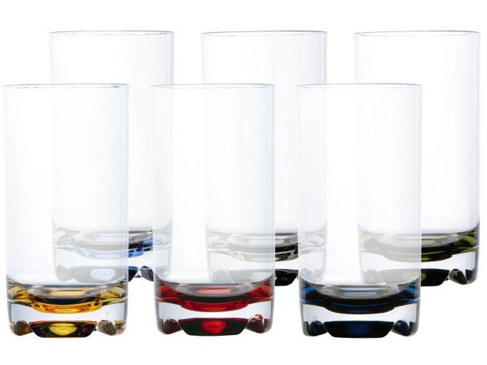 PARTY стаканы для воды цветное основание, набор 6 шт.