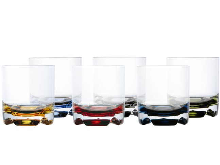 PARTY бокал для виски цветное основание, набор 6 шт.
