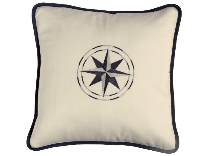 FREE STYLE Декоративная подушка роза ветров, бело-синяя, 40 x 40 см