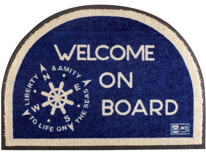 """WELCOME Коврик входной """"Welcome on board"""" с нескользящей основой, синий"""
