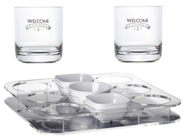 PARTY Піднос з відділом для снеків і 6 склянками, 34х34 см.
