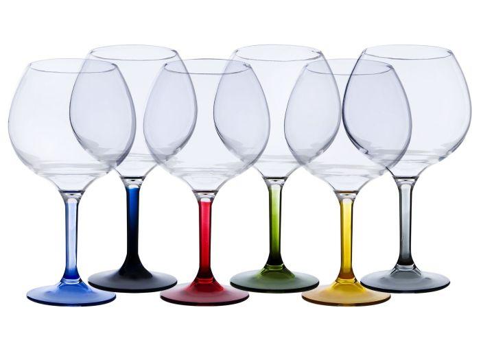 PARTY Набір келихів для вина з кольоровим заснуванням, 6 шт.