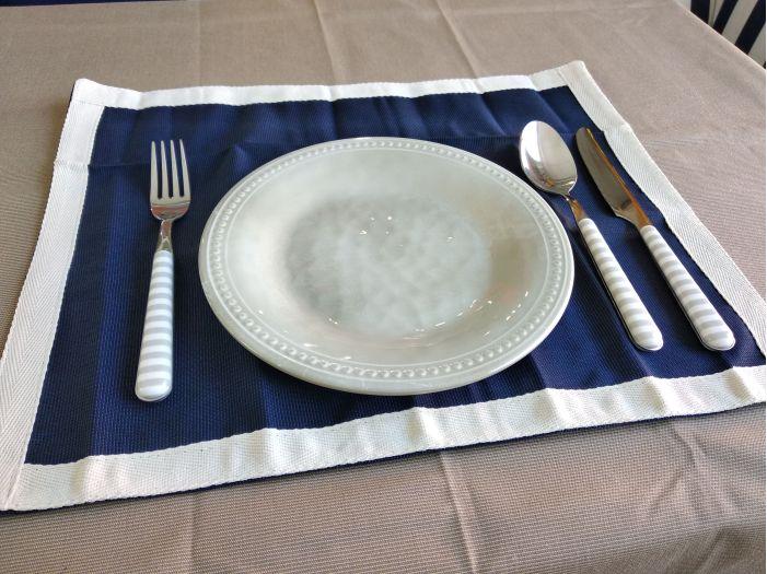 WATERPROOF Килимки під тарілки водовідштовхувальні, сині з бежевим бортом