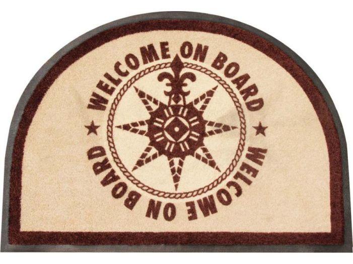 """WELCOME Коврик входной """"WELCOM ON BOARD ROUND"""" с нескользящей основой, коричневый"""