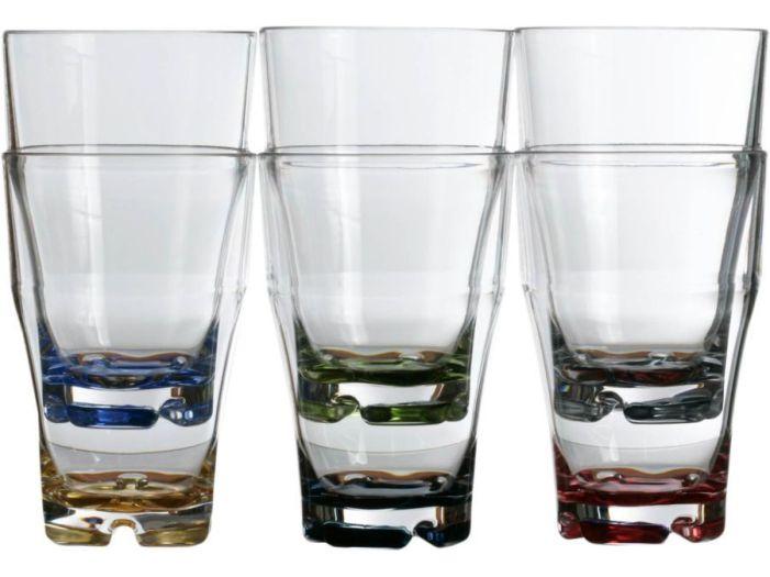 PARTY Скляноки для содової з кольоровим заснуванням, набір 6 шт.